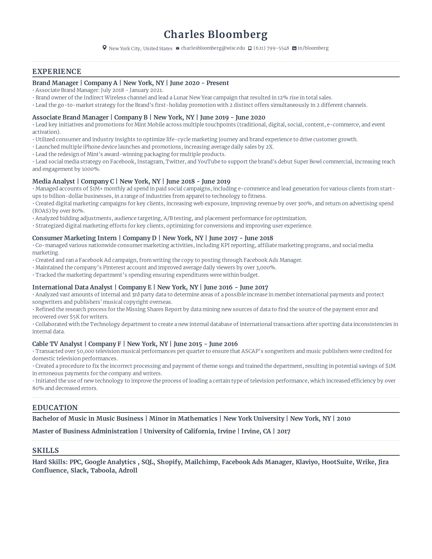 Brand Manager Resume Resume