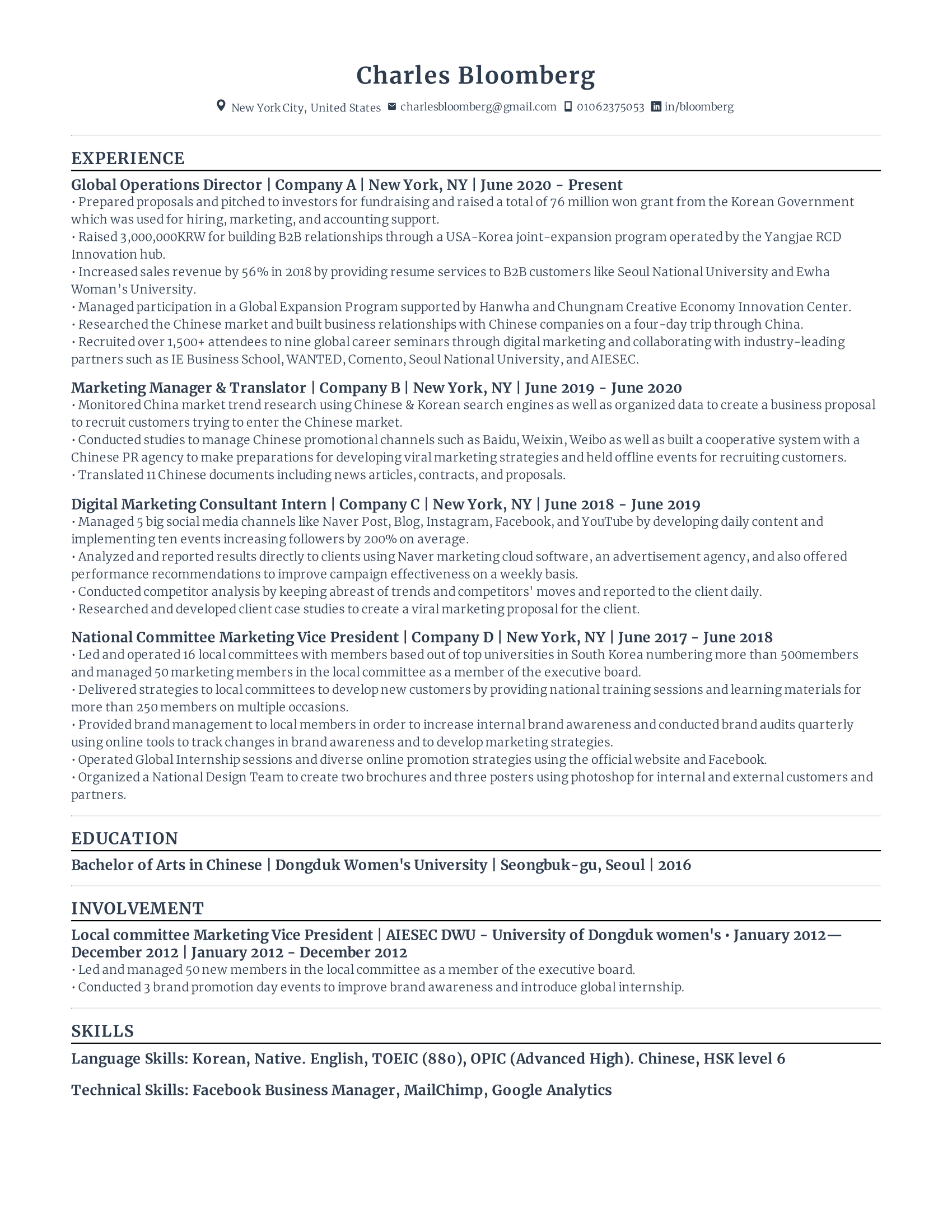 Global Operations Director Resume