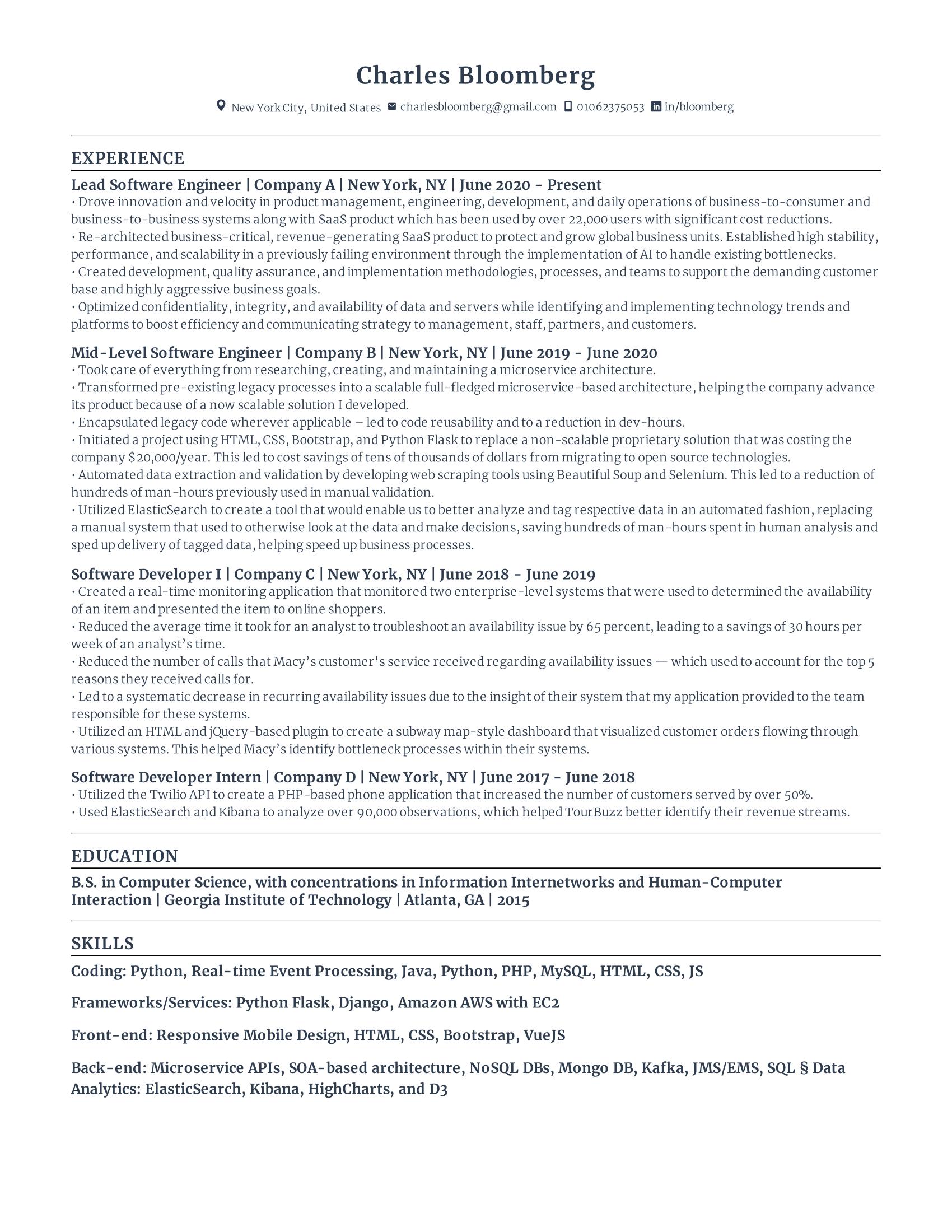 Lead Software Engineer Resume