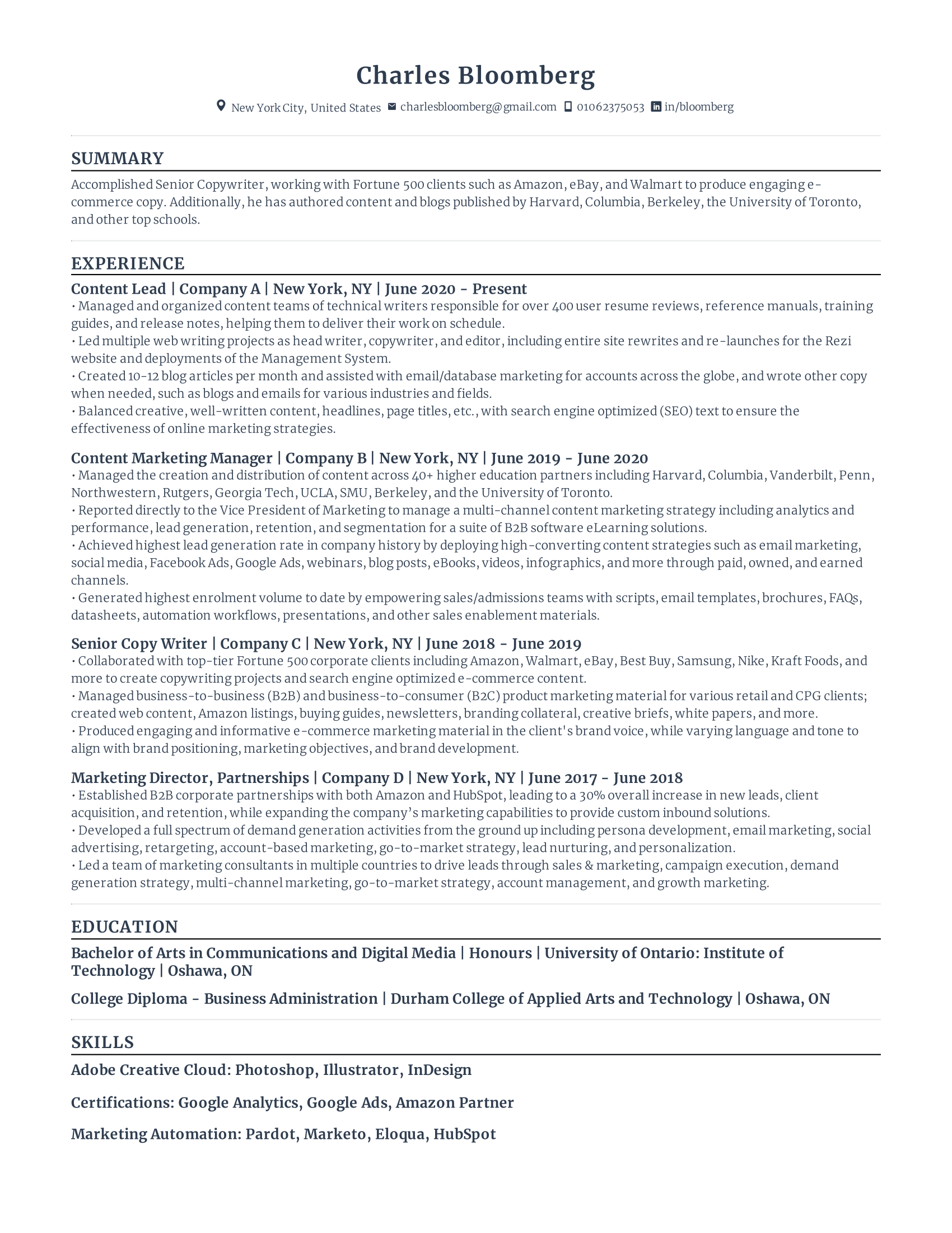 Content Marketing Lead Resume