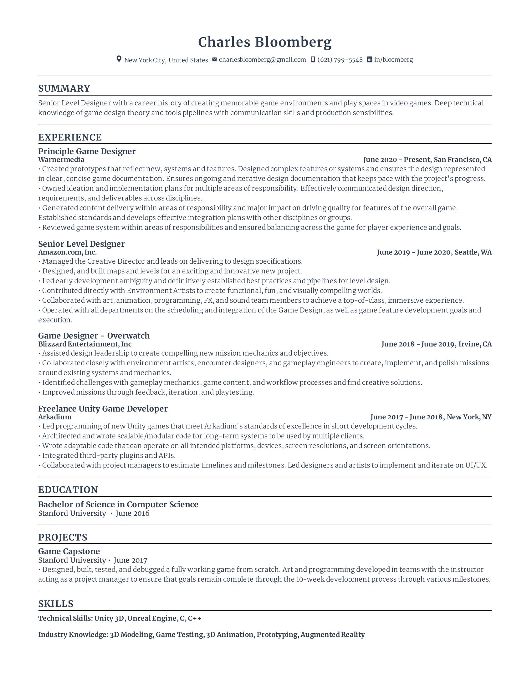 Game Developer Resume