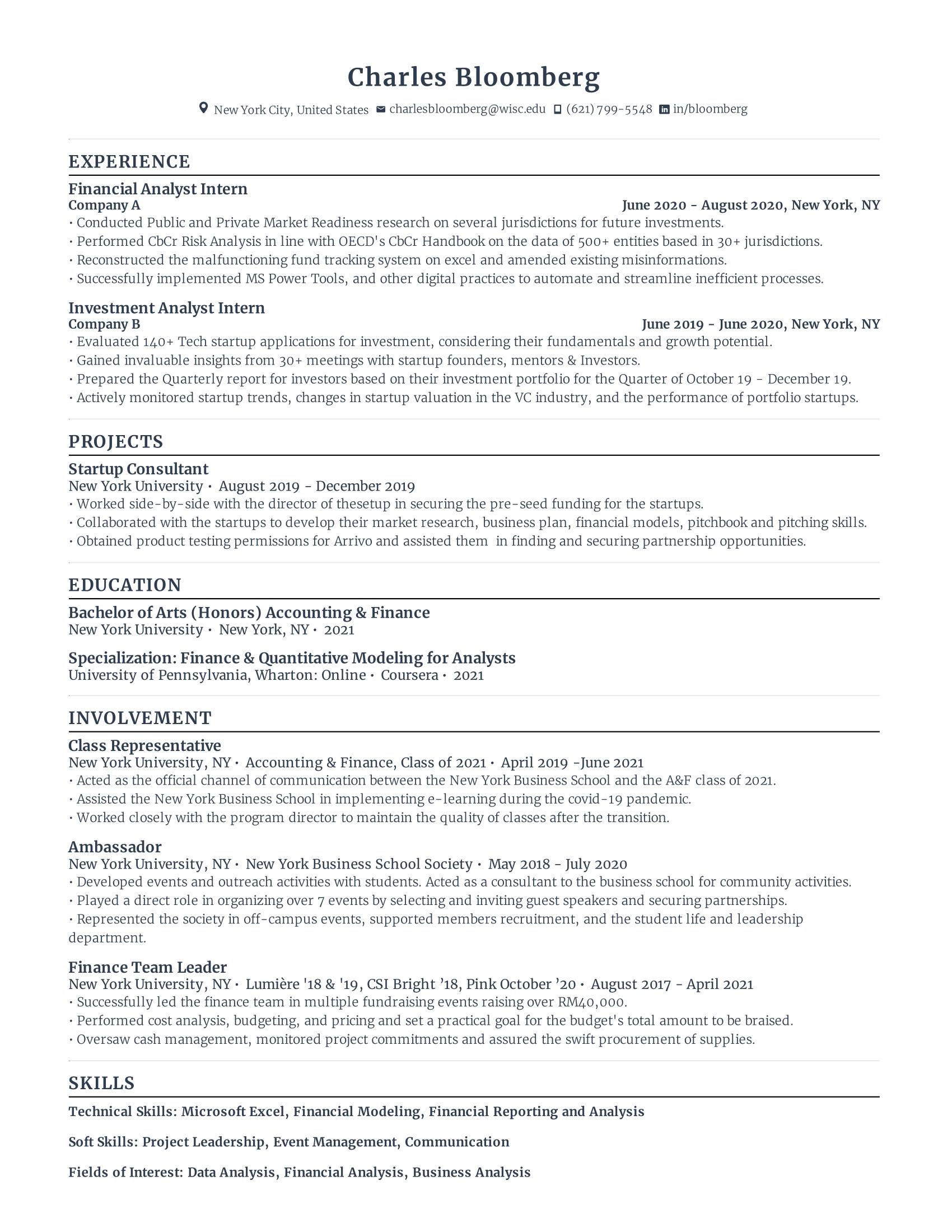 financial analyst intern