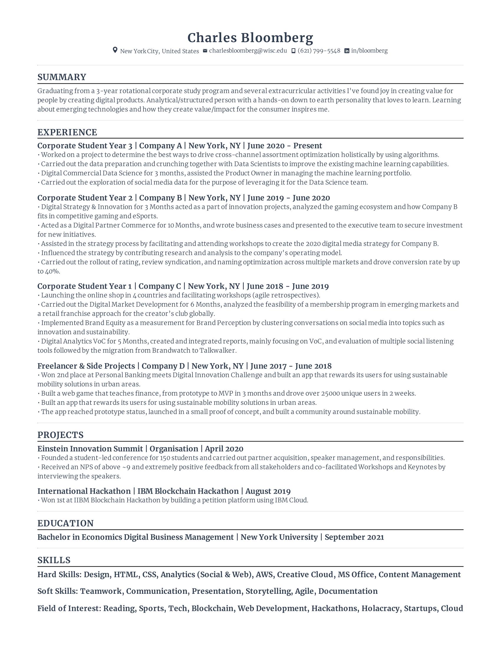 Corporate Rotational Graduate Resume
