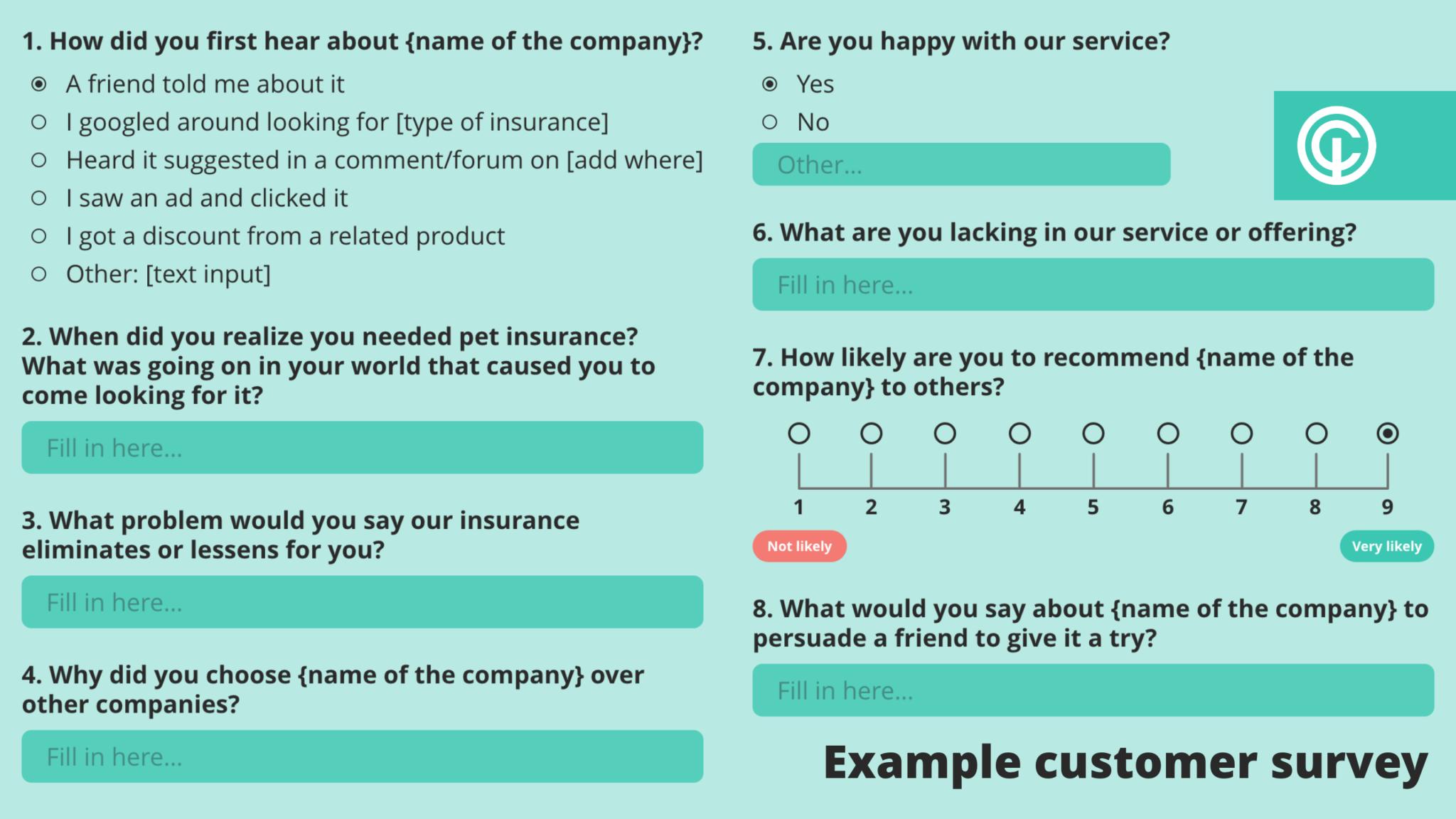 Example of pet insurance customer survey