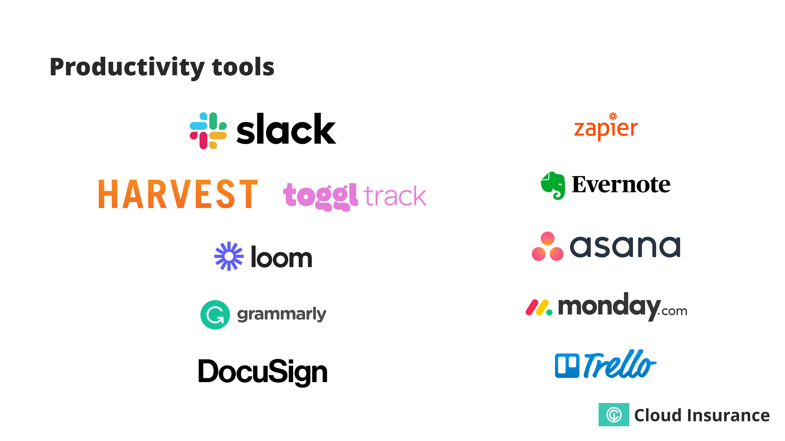 Sample of productivity tools.