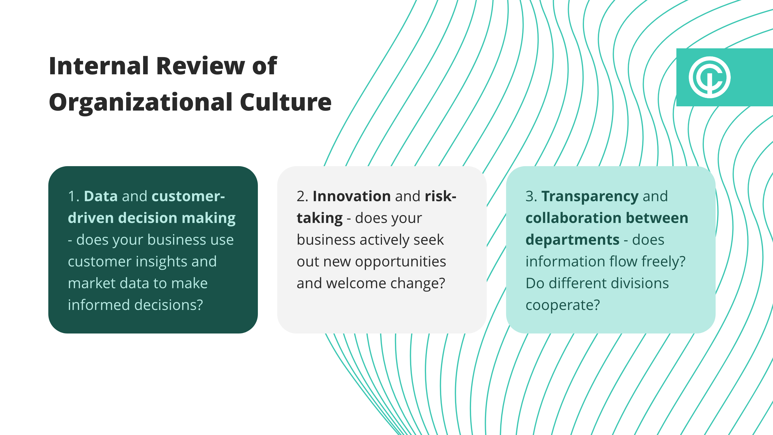 visual of what things to review  internally regarding organizational culture