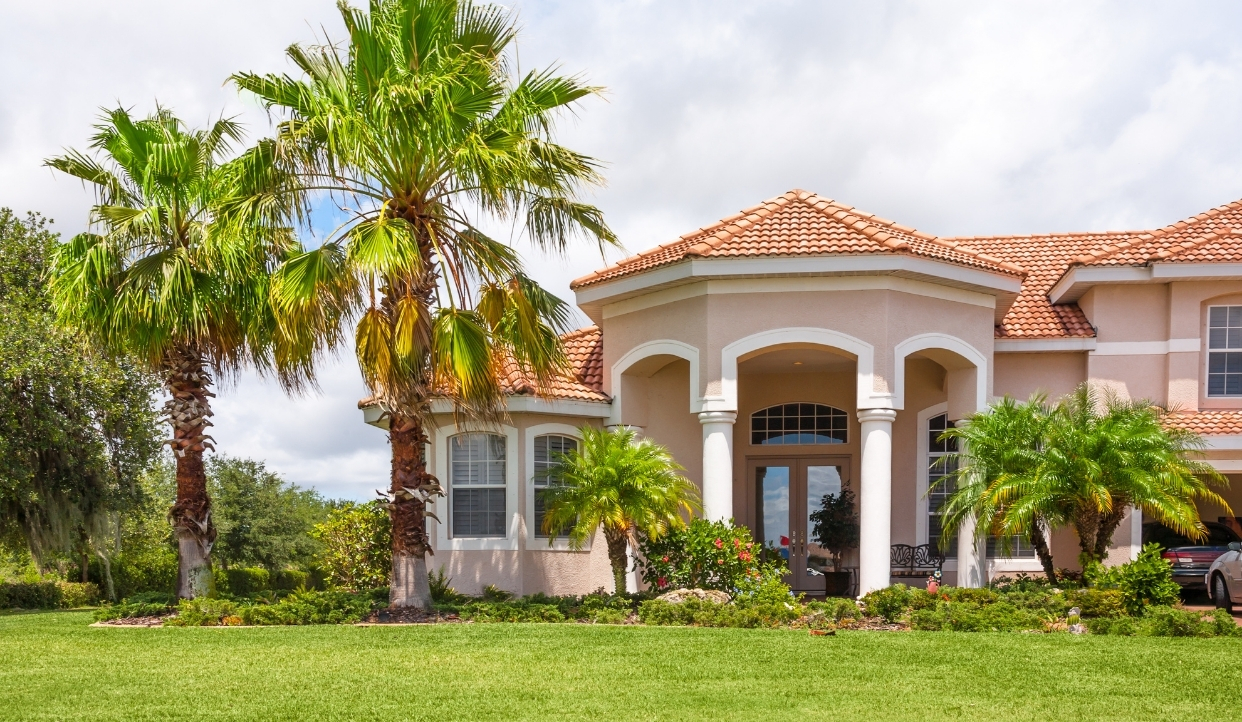 Florida house with palms.