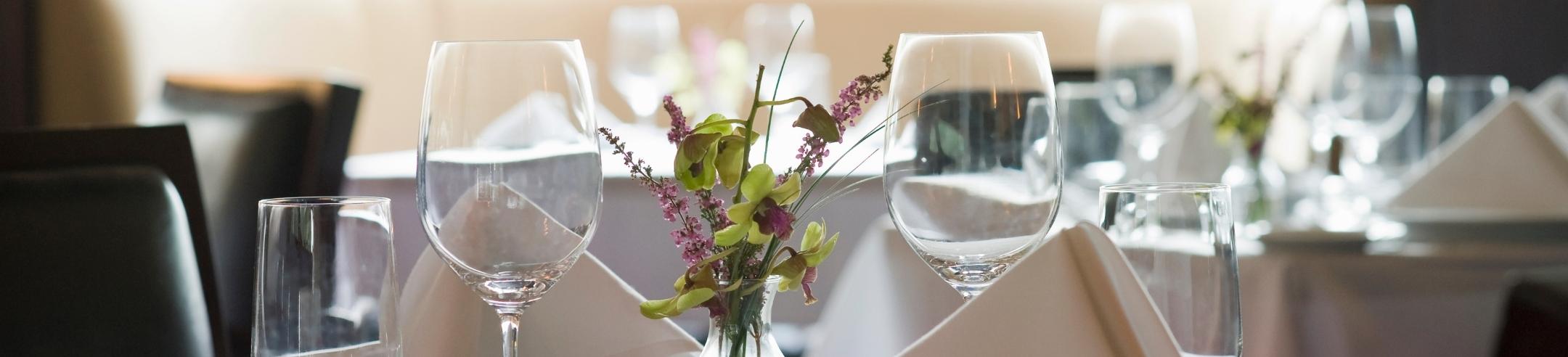Wine glasses table setting.
