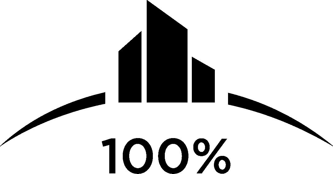 100 percent award logo.