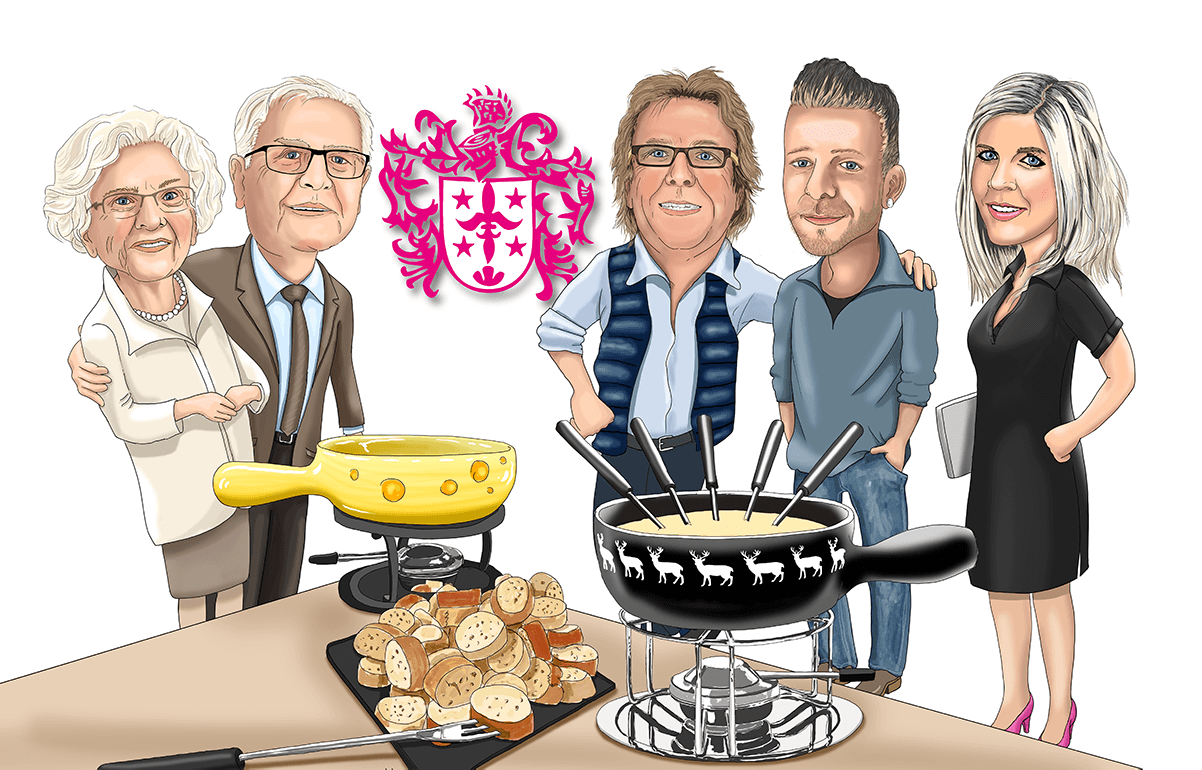 caricature of family. 3 generations making fondue together.