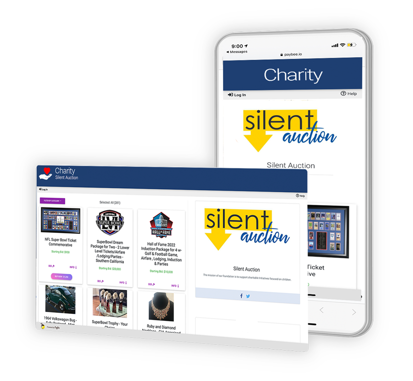 Paybee Virtual Fundraising Platform. Silent Auctions Functionality.