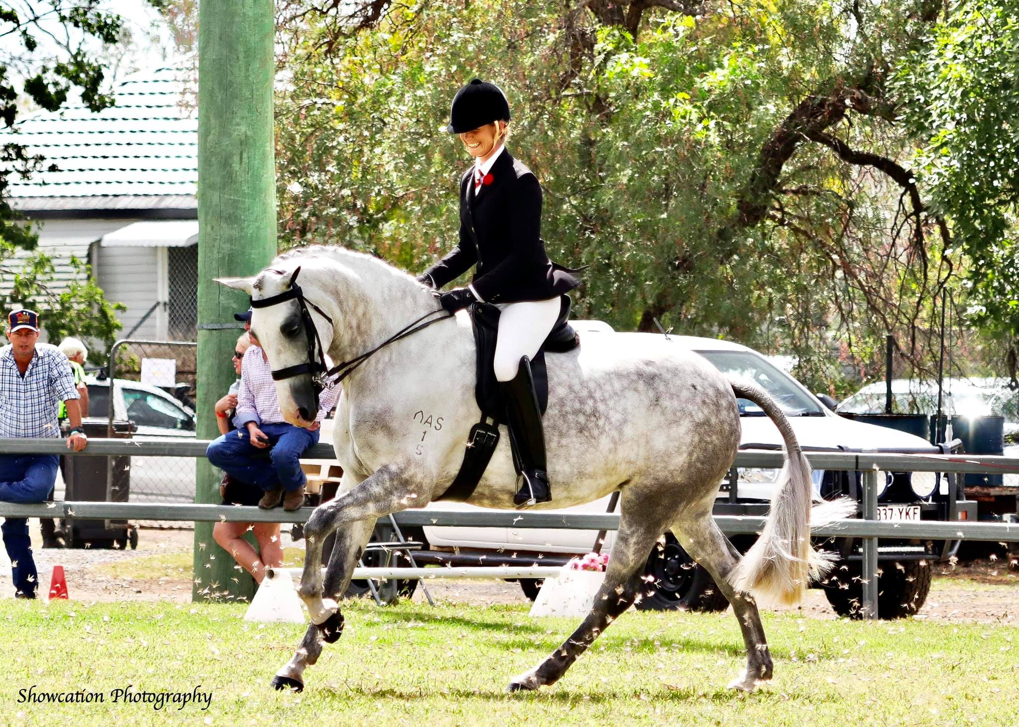 Tamara Patch riding Arcstan Antoinette at Pittsworth Show through locusts to win Supreme Rider of the Show in 2021.