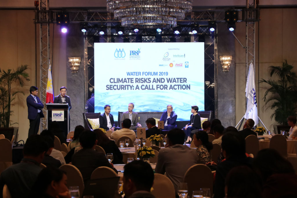 PANELISTS representing the four action clusters of the Water Alliance discuss their gains, best practices, and way forward in solving water security issues, particularly in providing water for waterless communities, water footprint reduction, governance and policy reform, and research and database mining.