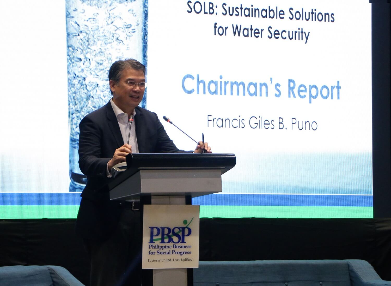 Photo of Chairman Francis Giles B. Puno giving a keynote speech on SOLB: Sustainable Solutions for Water Security