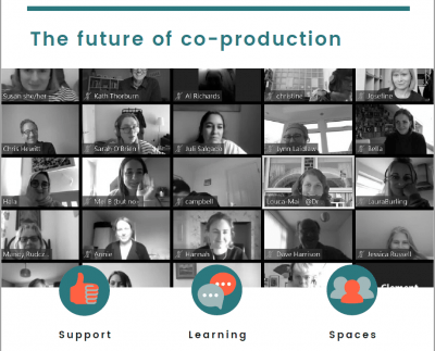 The future of co-production is written above a black and white photo of lots of people in Zoom squares, participating in an online workshop. Underneath them are three headings - support, learning and spaces