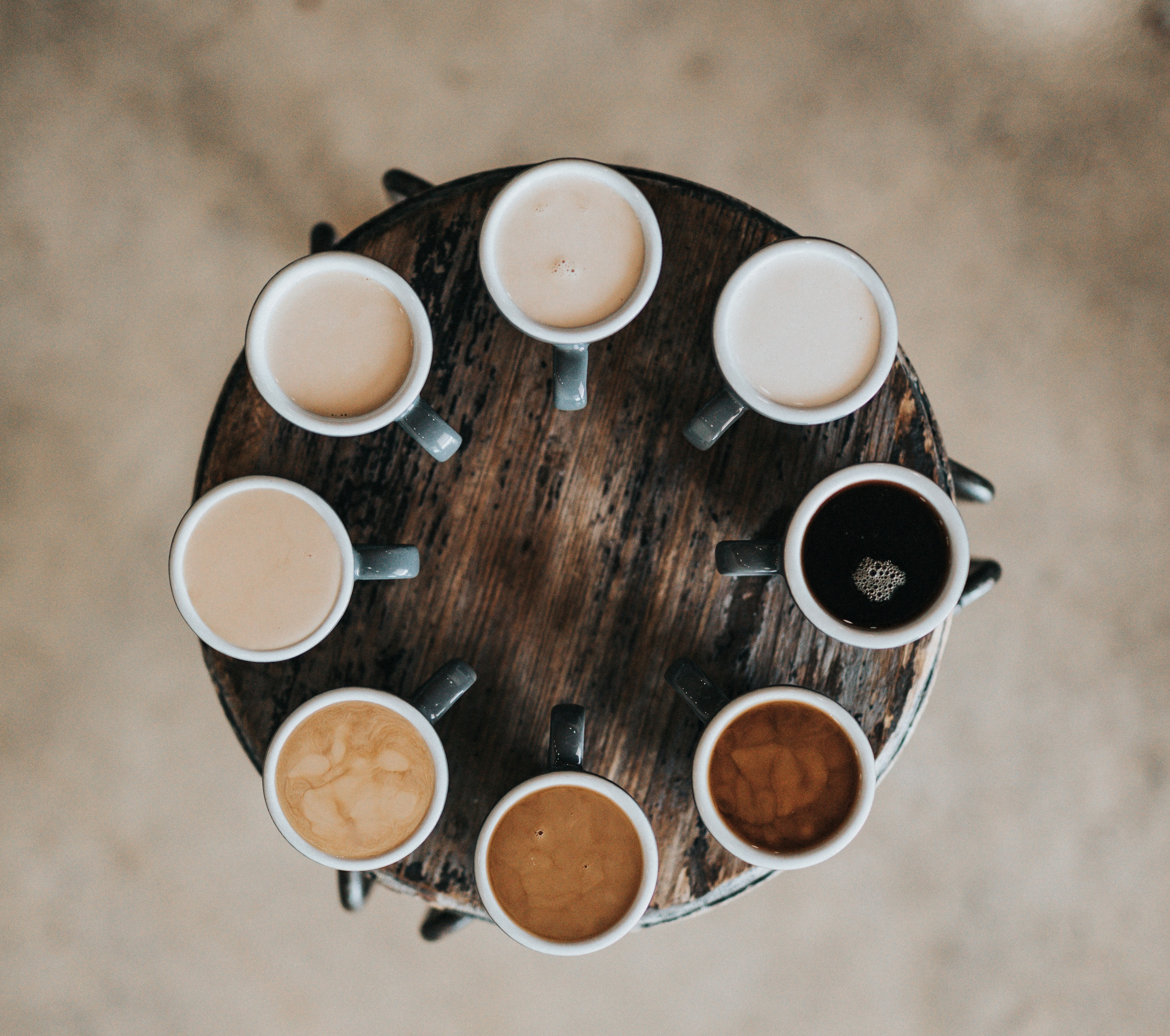 Cups of coffee set out in a circle, c. Nathan Dumlao, Unsplash