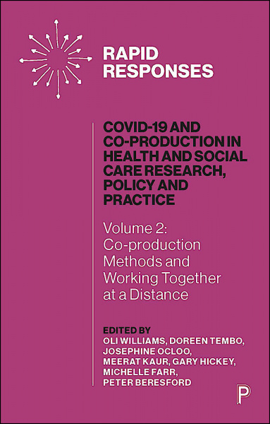 The pink front cover of COVID-19 and Co-production in Health and Social Care Research, Policy and Practice