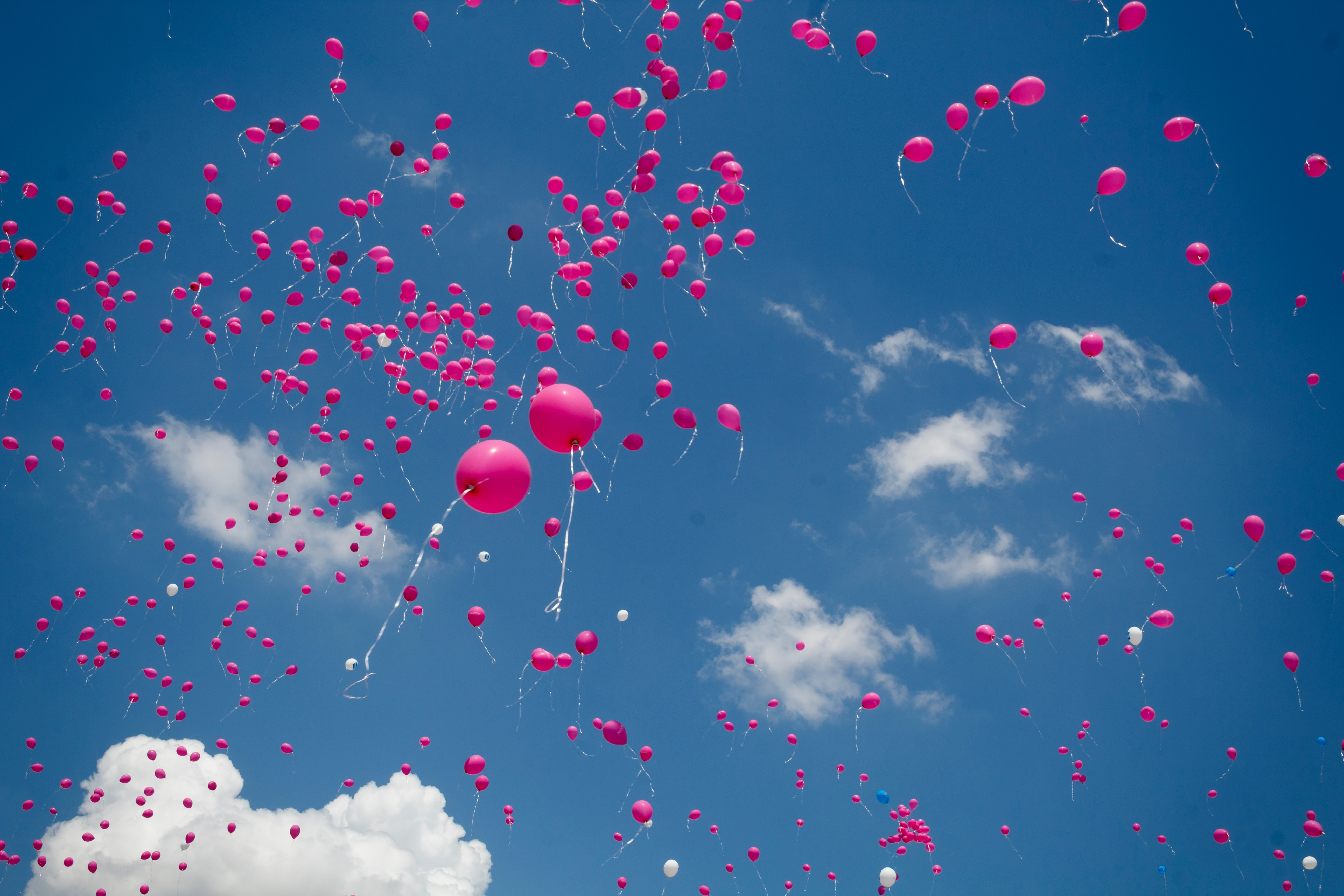Pink balloons float upwards against a blue sky with white clouds, c. Peter Boccia, Unsplash