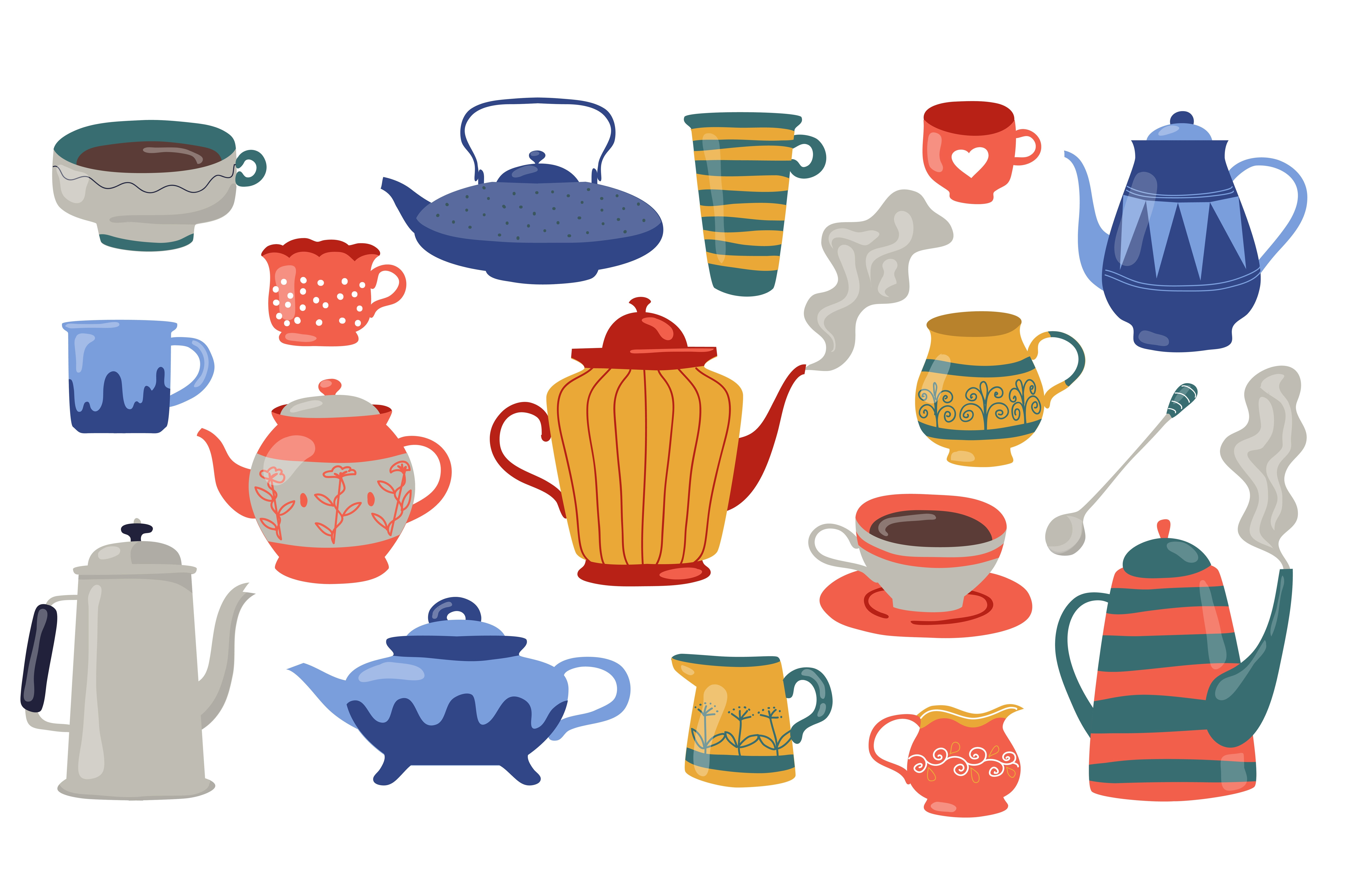 Little drawings of many colourful cups and pots, full of steaming hot drinks.