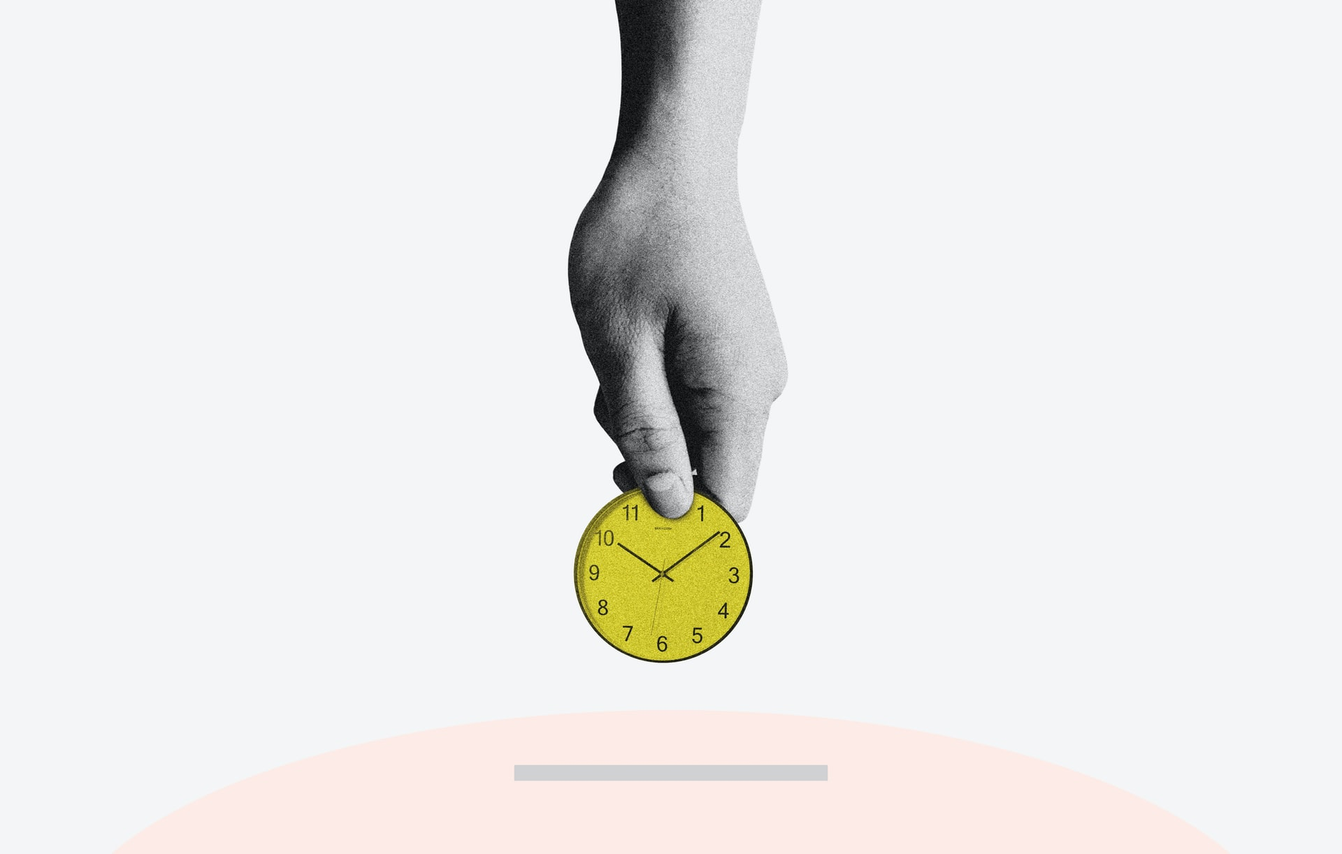 A hand is holding a golden coin, which has the dials of a watch on it. This refers to the value of the time we put into a project.