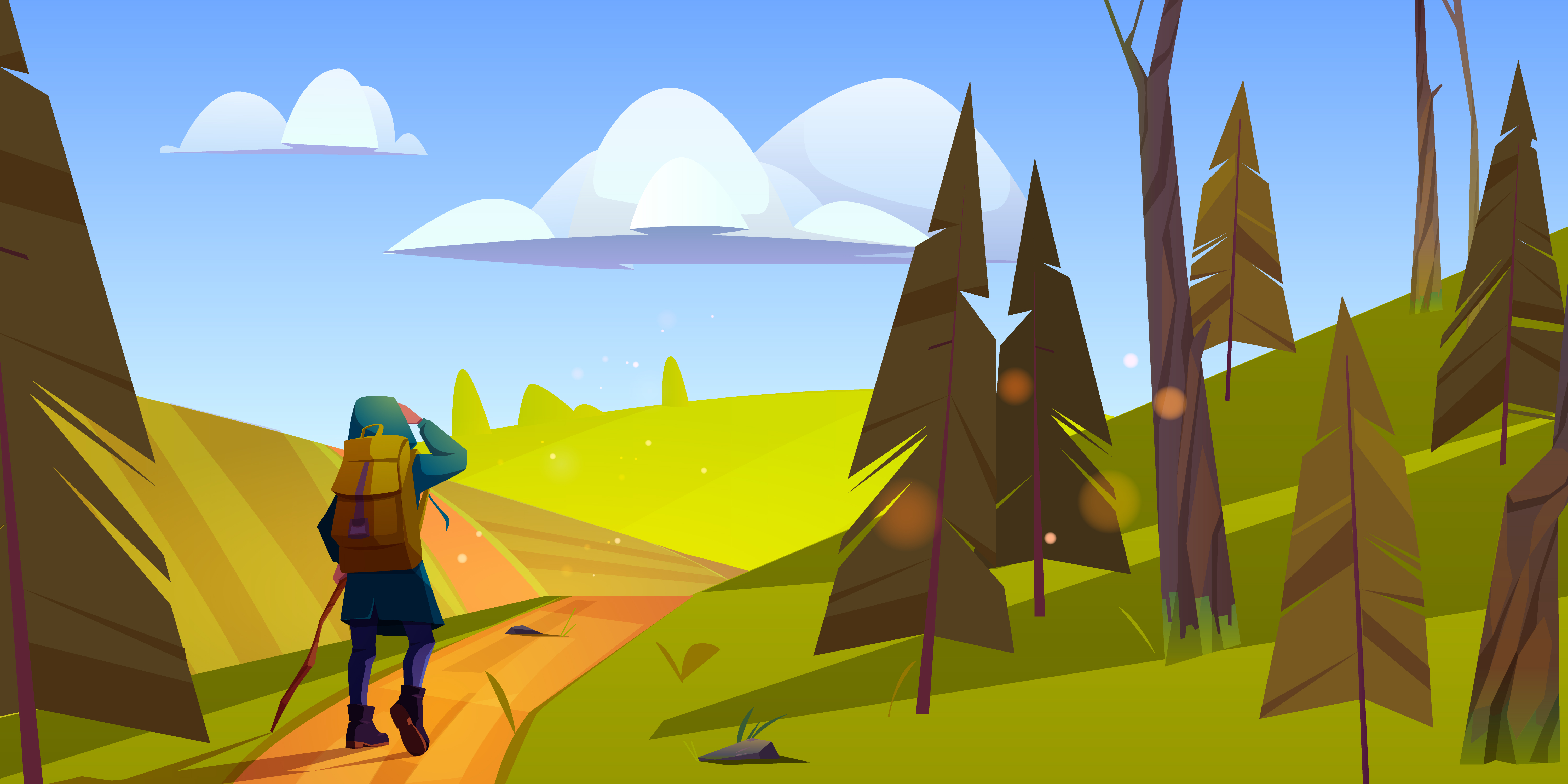A digital painting showing a person beginning a hike in the mountains on a sunny day.