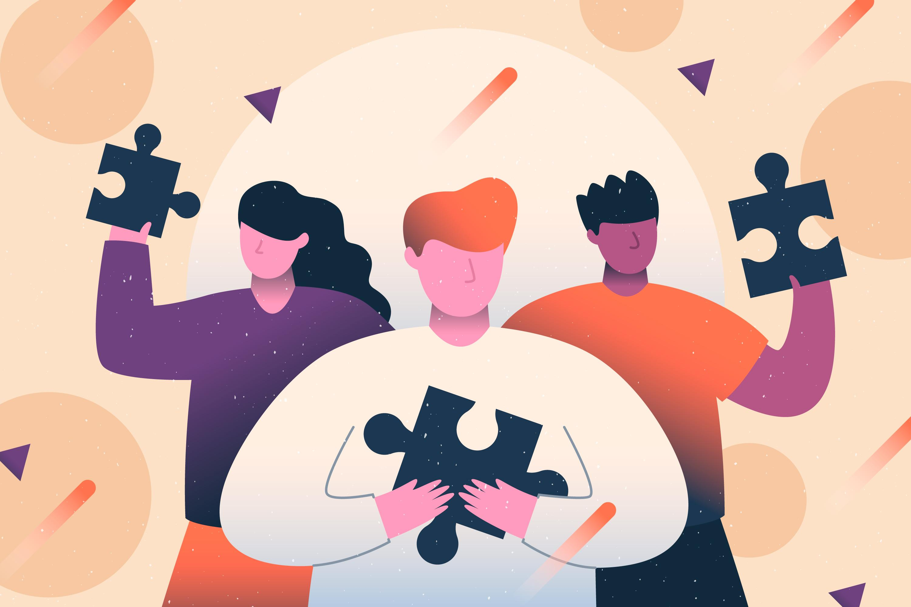 Digital art shows three figures, each holding up a large puzzle piece. The figure in the middle holds it close to their heart. Behind them is a beige background with circles and triangles and shooting stars.