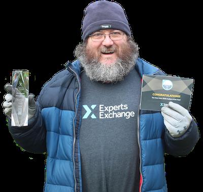 Andrew Hancock holding his Experts Exchange awards