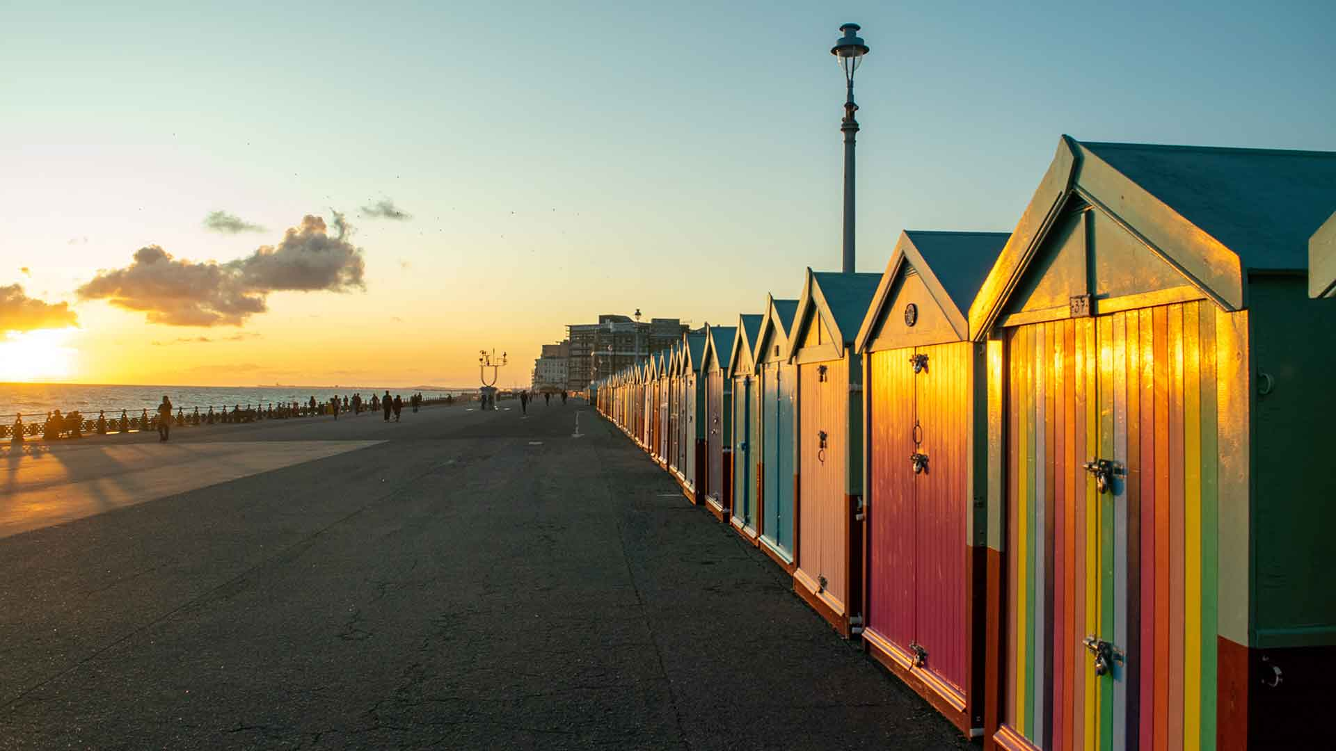 Hove's famous beach huts at sunset