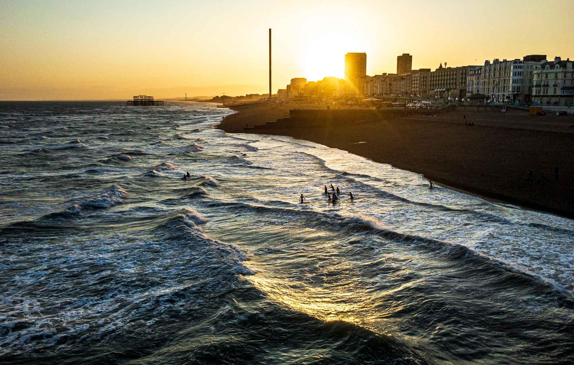 Brighton seafront at sundown