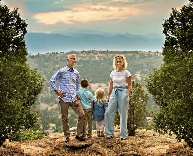 Mckenzie Ellis's family on a hilltop after a picnic
