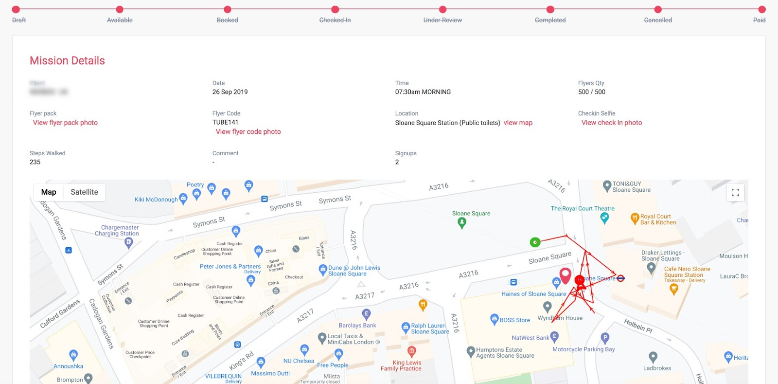 Customers can track ambassadors through GPS in real-time.