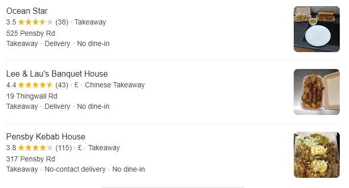 When searching for 'takeaways near me' Lee & Lau's Banquet House stands out with its 4.4 / 5 rating.