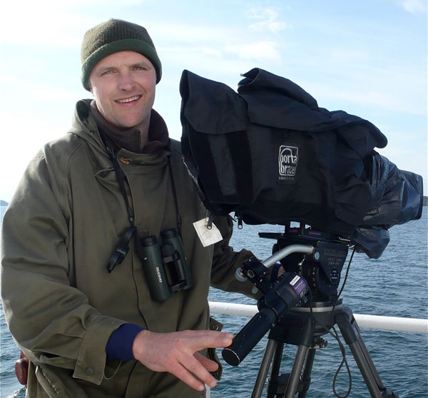 Graham Hatherley filming from a ship