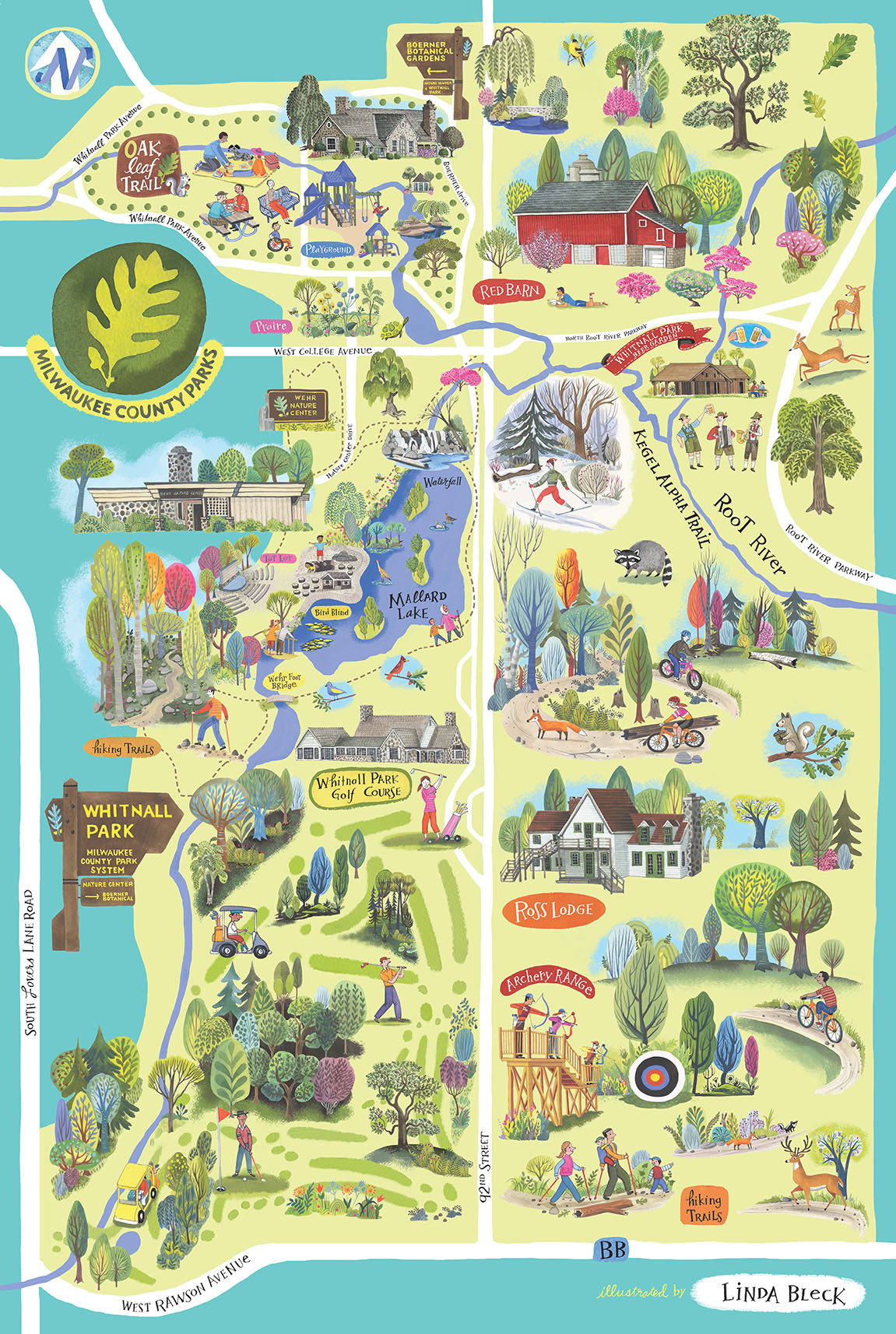 illustrated map of Whitnall Park