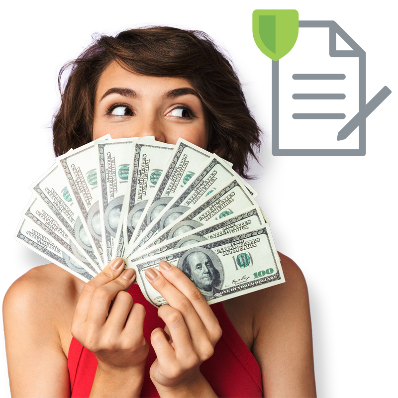 girl fanning out money with application icon