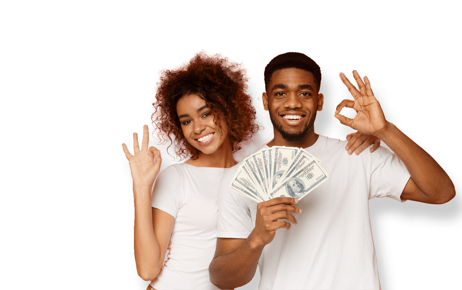 Two people with cash and okay sign