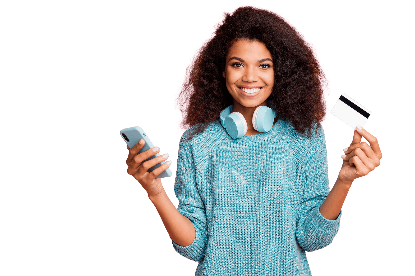 Girl holding cell phone and credit card
