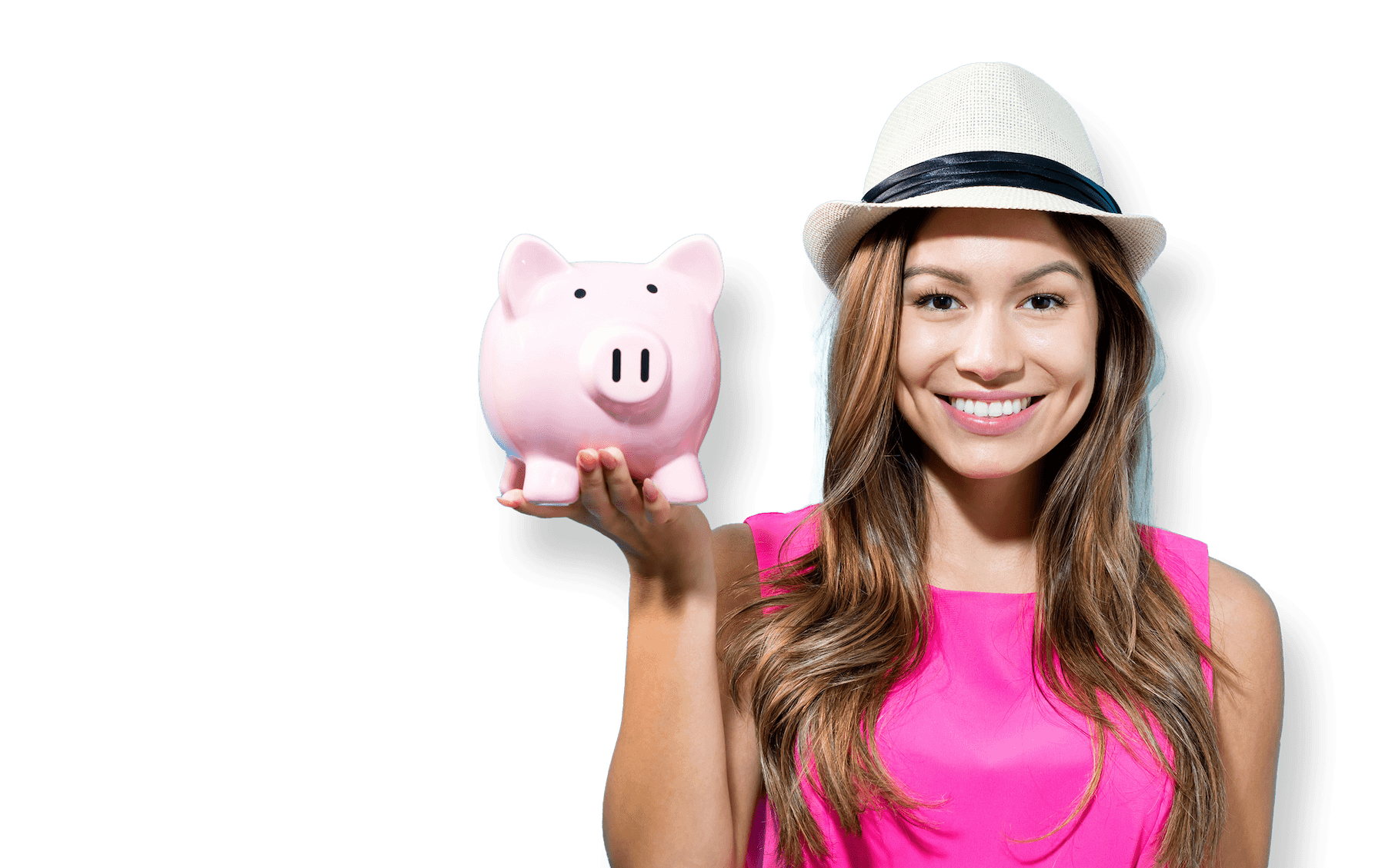 girl with hat holding a piggy bank