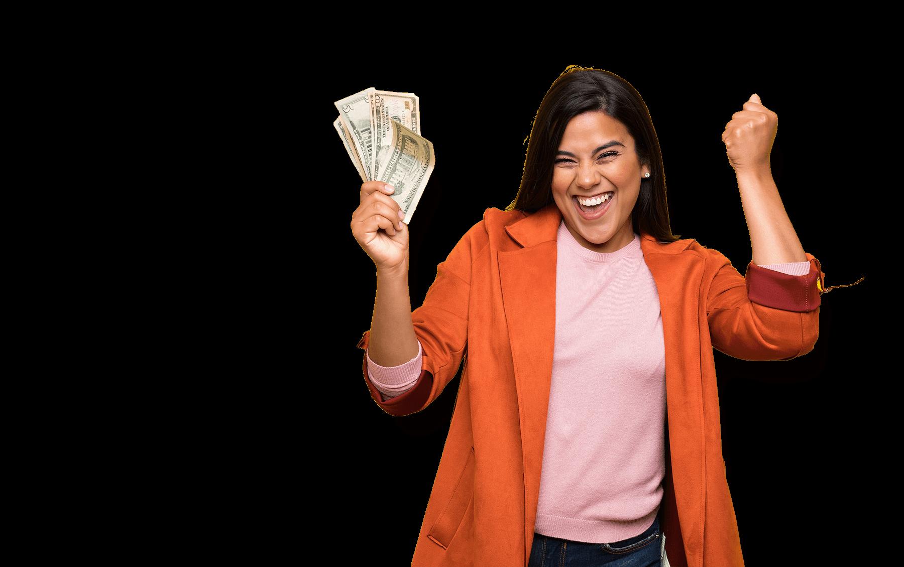 Girl Celebrating with Cash