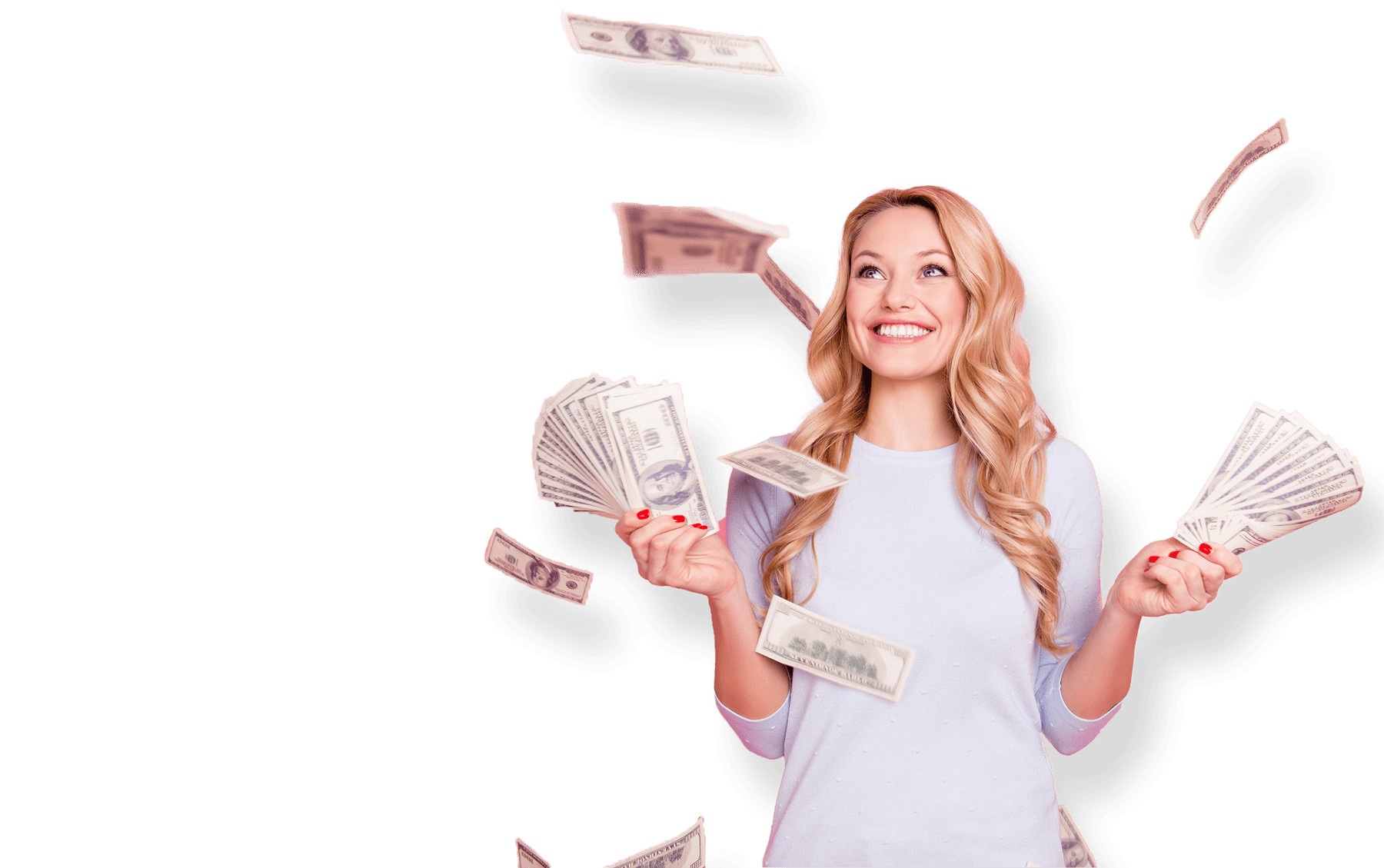 Girl tossing cash with fanned cash in hands