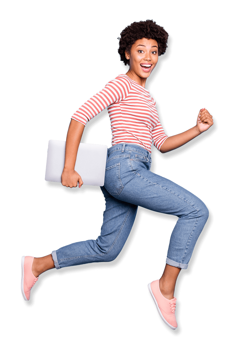 Girl Jumping with Laptop