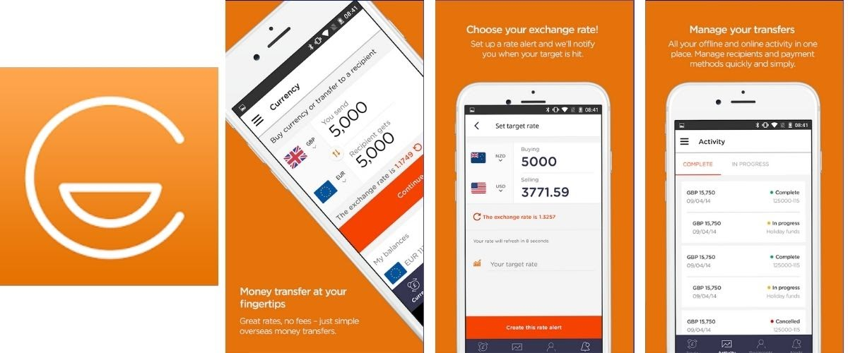 Currencies Direct Money Transfer App Images