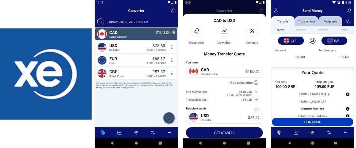 XE Money Transfer App Images