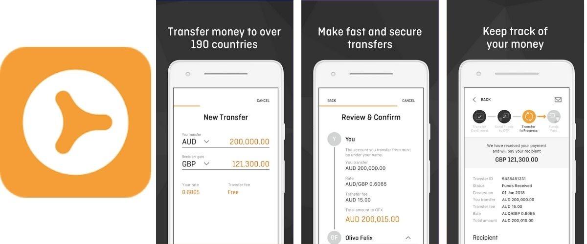 OFX Money Transfer App Images