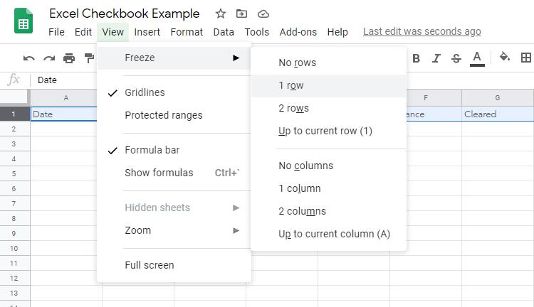 Balance Checkbook Spreadsheet Example Step 2