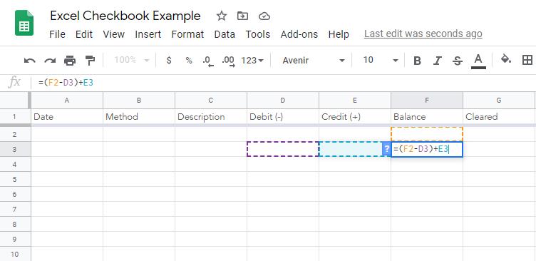 Balance Checkbook Spreadsheet Example Step 5