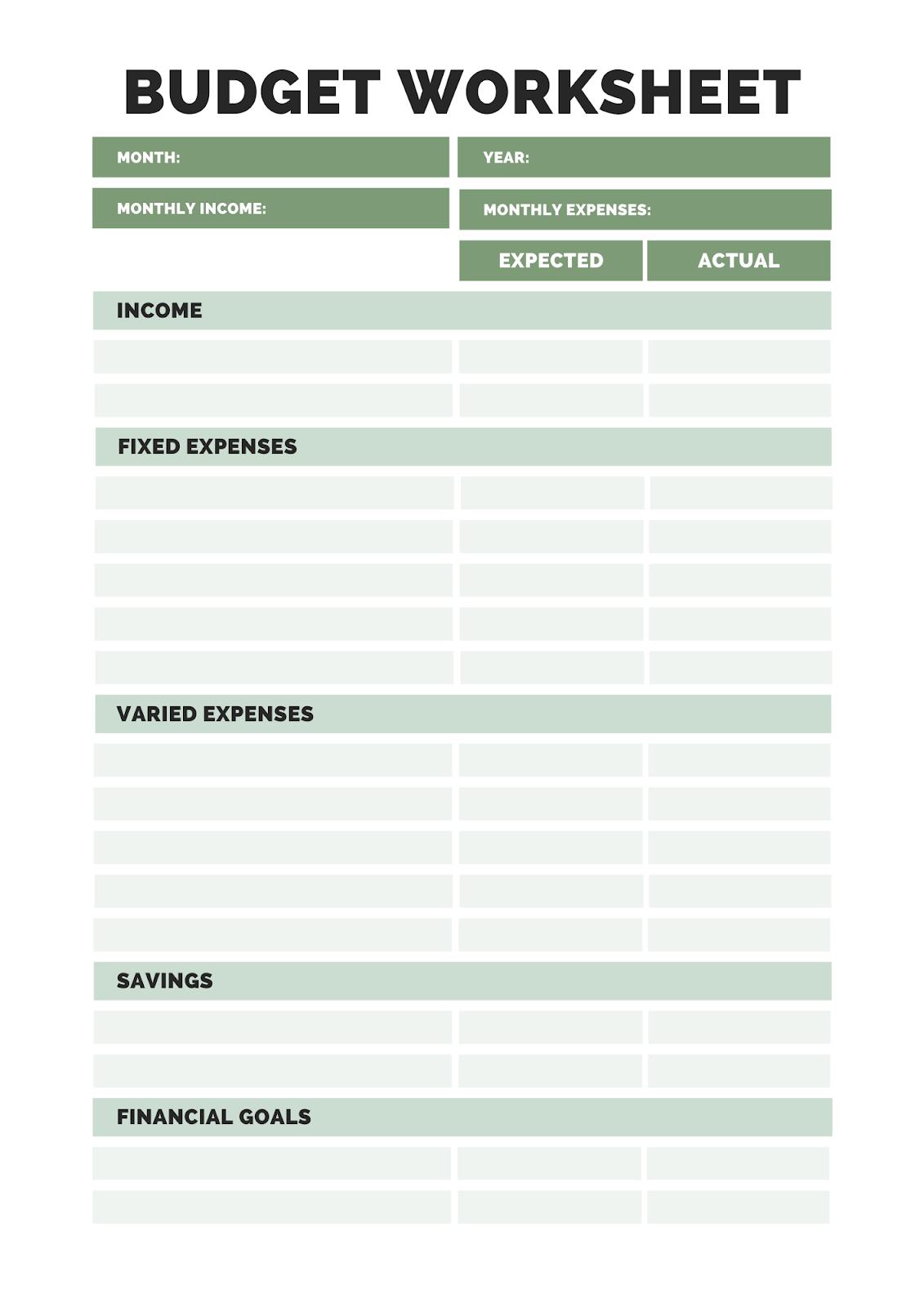 Budget Worksheet Download