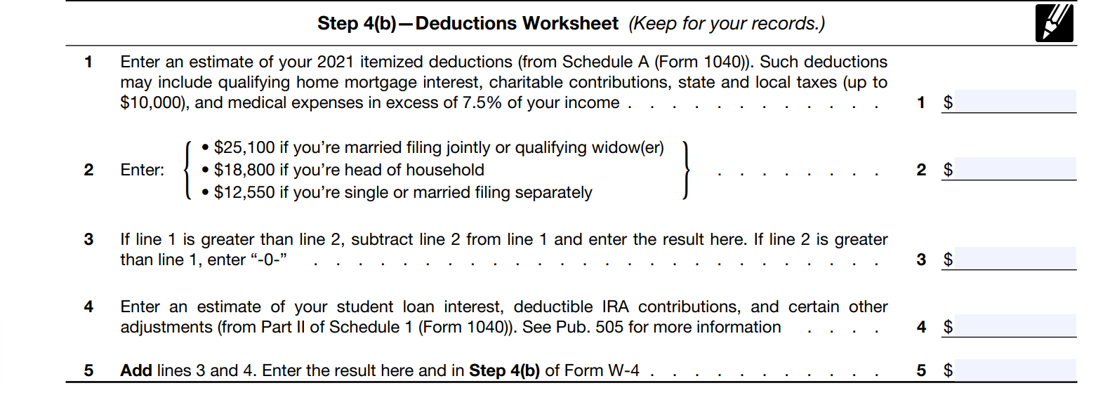 How to Fill out a W4 Step 4B