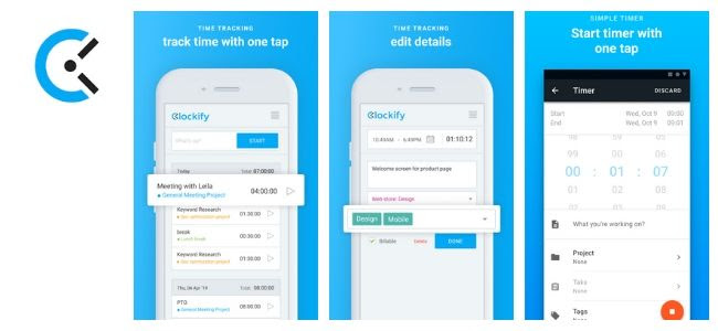 Clockify app screens