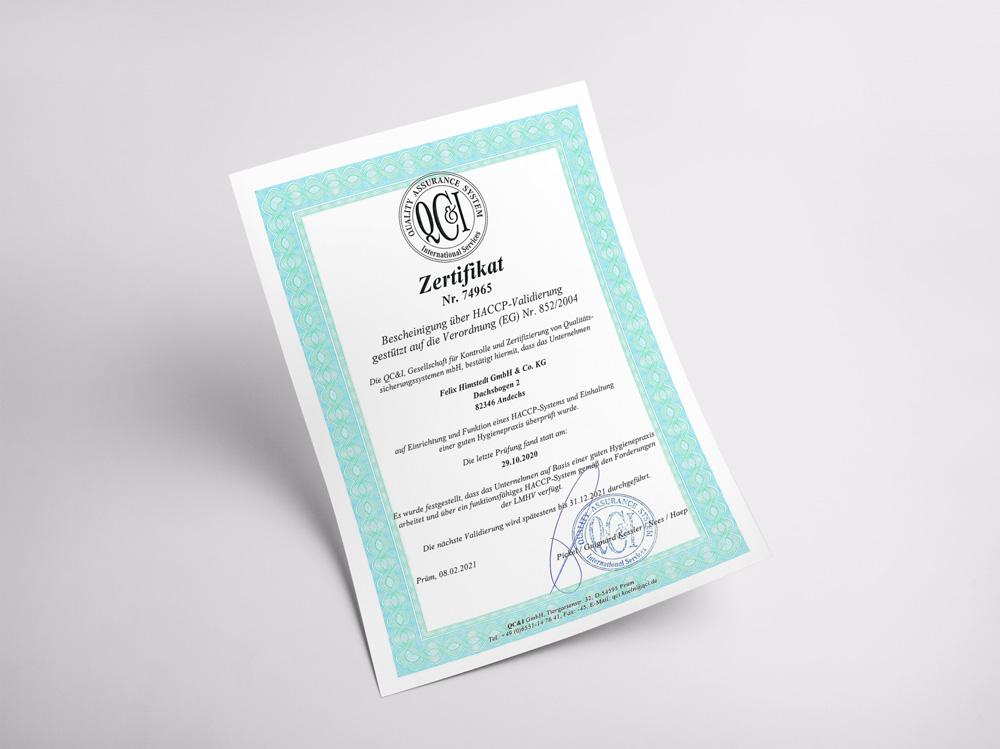 Unser Zertifikat für die Aufrechterhaltung von Hygiene- und Hygienebedingungen.